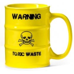 Kubek z uchem TOXIC WASTE beczka toksyczne odpady żółty czacha
