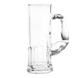 Szklany kufel do piwa szklanka siłacza z uchwytem w kształcie umięśnionego ramienia