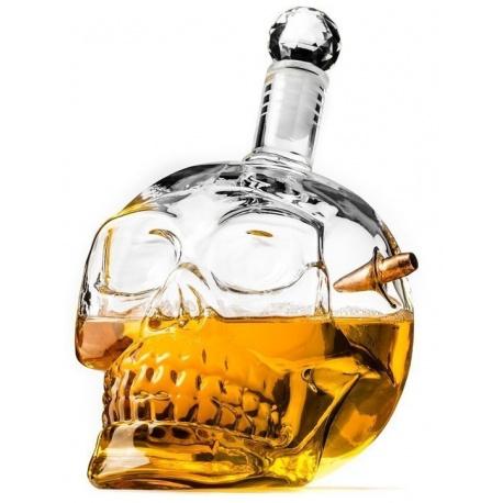 Kuloodporna męska karafka na whiskey kryształowa czaszka z pociskiem
