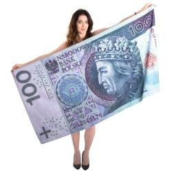 Ręcznik kąpielowy 100 zł PLN banknot stówka plażowy 160x80 cm sto złotych