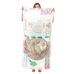 Ręcznik kąpielowy 500 PLN plażowy z mikrofibry jednostronny pięćset złotych