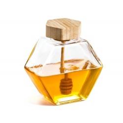 Zakręcany słoiczek pojemnik szklany na miód z drewnianą łyżeczką szczelny