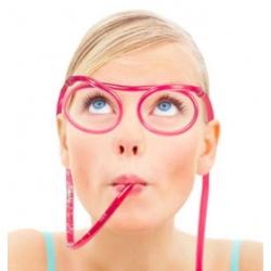 Zakręcone okulary do picia przeźroczyste imprezowe słomki dla dzieci i dorosłych