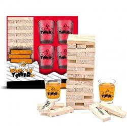 Imprezowa wieża po polsku drewniane klocki gra alkoholowa kieliszki w zestawie