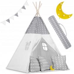 Tipi namiot dla dzieci z girlandą i światełkami poduszki lampka LED