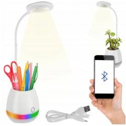 Lampka biurkowa LED z głośnikiem Bluetooth organizer na przybory długopisy