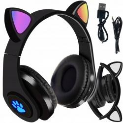 Słuchawki kotki widoczne po zmroku dla dzieci z Bluetooth LED RGB kocie uszy radio FM