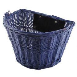 Koszyk wiklinowy na rower przedni na szybkie złącze klik niebieski
