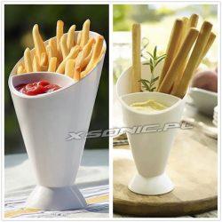 Rożek na przekąski 2w1 dwie komory tutka na frytki ketchup sos kubek