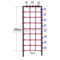 Siatka linowa do wspinaczki zakończona mocowaniem na plac zabaw rozmiar 200 x 75 cm dwa kolory