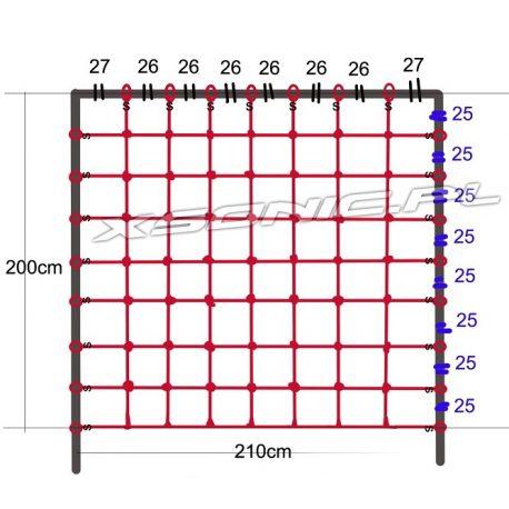 Siatka linowa do wspinaczki na plac zabaw rozmiar 200 x 210 cm z zaczepami do zawieszenia