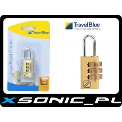 Kłódka szyfrowa Travel Blue metalowa duże cyfry i długie ramiona szekli