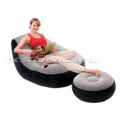 Welurowy fotel dmuchany z podnóżkiem 130 x 99 x 76 cm