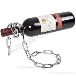 Łańcuchowy stojak na butelkę wino lewitująca butelka owinięta łańcuchem