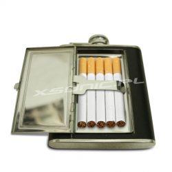 Piersiówka ze schowkiem na papierosy dwie zawartości na raz papierośnica