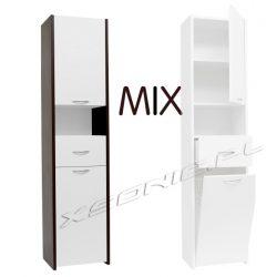 Słupek łazienkowy szerokość 40 cm z szufladą drzwiczkami oraz koszem na bieliznę