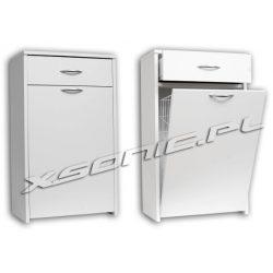 Szafka łazienkowa z metalowym koszem na bieliznę K+S 40 cm biała
