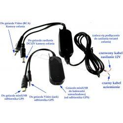 Bezprzewodowy transmiter video do kamer cofania - złącze miniUSB/JACK 3,5 mm do nawigacji GPS