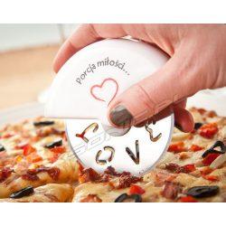 Romantyczny obrotowy nóż do krojenia pizzy gadżet dla zakochanych