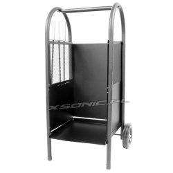 Stylowy stojak wózek kosz na drewno kominkowe na kółkach akcesoria miotełka szufelka i pogrzebacz