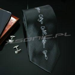 Czarny krawat z instrukcją wiązania jak zawiązać krawat ściąga z tyłu