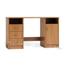 Pojemne biurko z szafką dwie wnęki i trzy szuflady szerokość 125 cm dąb Craft
