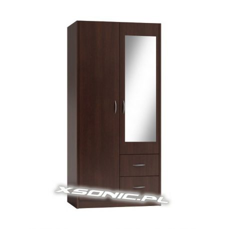 Szafa na ubrania OLKA 2D 2S z lustrem drążek i półki 80cm