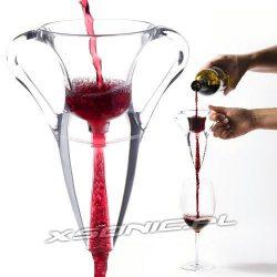 Aerator napowietrzacz szklany do wina Amphora zestaw dla smakoszy trunku sitko podstawka