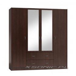 Duża garderoba szafa OLKA 160cm drążek półki szuflady i 2 lustra dąb Craft