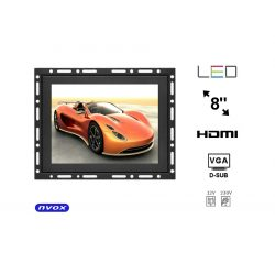 Monitor do zabudowy typu OPEN FRAME marki NVOX 8 cali Digital LED VGA HDMI metalowa obudowa