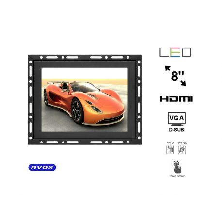 Monitor z dotykową matrycą do zabudowy typu OPEN FRAME 8 cali Digital LED VGA HDMI metalowa obudowa
