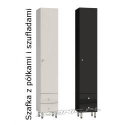 Szafka łazienkowa 30 cm słupek do łazienki wysoki połysk za drzwiami 3 półki i dwie szuflady