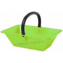 Duży koszyk z uchwytem zielony metalik do zbioru owoców podczas sezonu pomieści do 18L