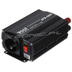 Samochodowa przetwornica napięcia z gniazdo USB 12V na 230V marki VOLT POLSKA 500W 350W sinus modyfikowany