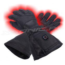 Ogrzewane rękawice narciarskie skórzane z akumulatorem, możliwość obsługi ekranów dotykowych, rozmiar L/XL