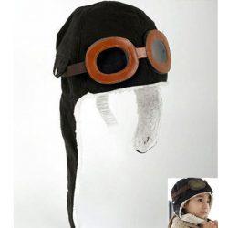 Czapka pilotka z okularami na zimę dla dzieci zakrywająca uszy