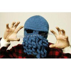 Ciepła czapka na zimę ośmiornica zielona lub granatowa zakrywa twarz