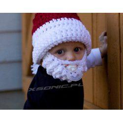 Czapka Mikołaja z brodą dla dzieci ciepła na zimę mały Święty Mikołaj