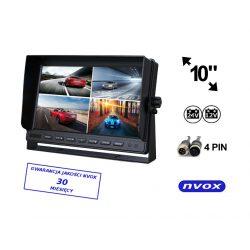 Monitor LCD do kamer cofania 4pinQuad marki NVOX z matrycą o przekątnej 10 cali do czterech kamer cofania monitoring