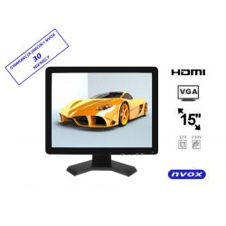 Monitor samochodowy 15 cali Digital LCD Hi-Contrast złącze VGA HDMI wejście AV