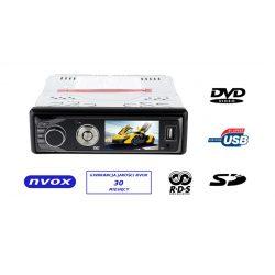 Radio samochodowe z DVD marki NVOX wyposażone w ekran LCD o przekątnej 3 cali czytnik SD Dolby Digital