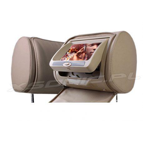 Samochdowy zagłówek multimedialny marki NVOX wyposażony w ekran SHARP LCD 7 cali HD, napęd DVD, czytnik SD/USB, nadajnik IR/FM