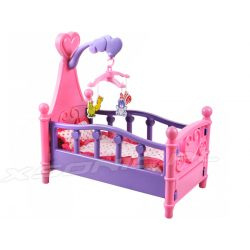 Duże łóżko dla lalki z karuzelą lalek różowe dla dziewczynki karuzela
