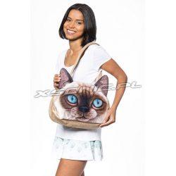 Damska torba na ramię z efektem 3D kotek niebieskie oczy stylowa i praktyczna