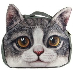Torba na ramię z efektem 3D szary kot brązowe oczy nowoczesny design atrakcyjny