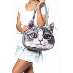 Torba na ramię z efektem 3D szary kotek brązowe oczy nowoczesny design atrakcyjny