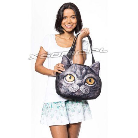Damska torba na ramię z efektem 3D żółte oczy szary kotek stylowy wygląd