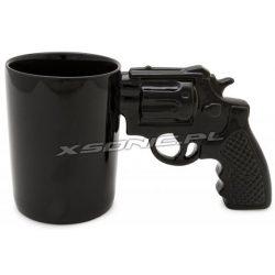 Porcelanowy kubek z uchem rewolwer pistolet czarny i elegancki