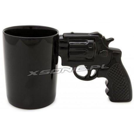 Porcelanowy kubek z uchem w kształcie rewolweru pistoletu czarny i elegancki