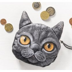 Saszetka na drobiazgi portfelik efekt 3D szary kotek żółte oczy